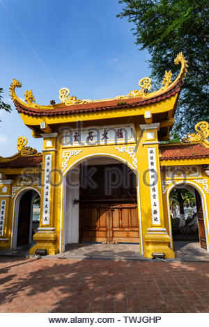 Yellow gate of the Thang Long citadel part of the central sector of the imperial city, UNESCO World Heritage Site in Hanoi, Vietnam. - Stock Photo