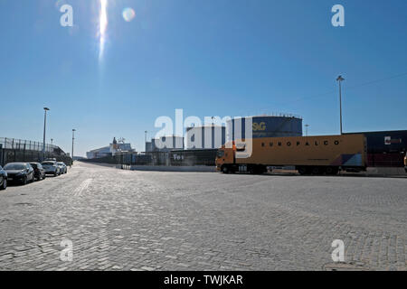 View of road, industrial tanks and Europalco lorry parked at Port of Leixoes ferry terminal in Matosinhos Portugal Europe EU  KATHY DEWITT - Stock Photo