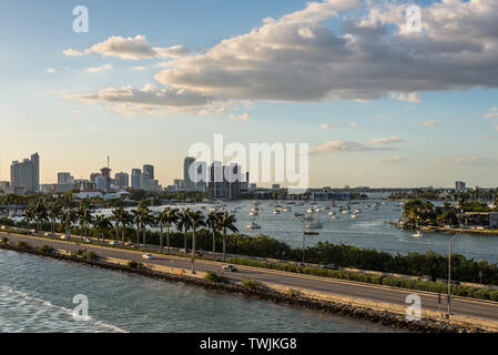 Miami, FL, United States - April 20, 2019:  View of MacArthur Causeway and Biscayne Bay in Miami, Florida, United States of America.