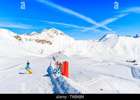 View of ski slope and amazing Austrian Alps mountains in beautiful winter snow, Serfaus Fiss Ladis, Tirol, Austria - Stock Photo