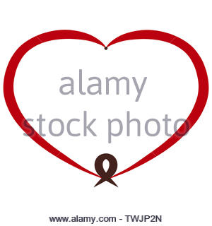 red heart and brown symbolic fish, frame - Stock Photo