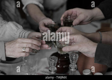 People toasting homemade Samogon distilled alcoholic beverage during a traditional Belarusian dinner in Belarus - Stock Photo