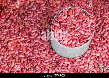 Pile red beans raw on canned - Stock Photo