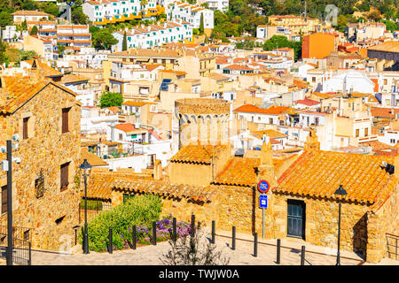 Colorful houses of old town in Tossa de Mar, Costa Brava, Spain - Stock Photo