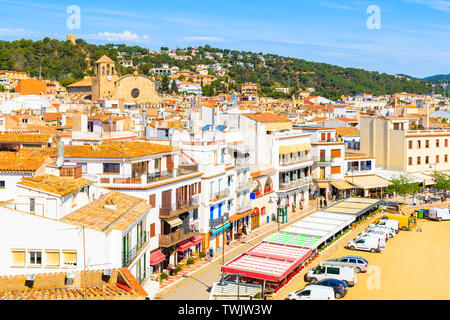 White houses and church in old town of Tossa de Mar, Costa Brava, Spain - Stock Photo