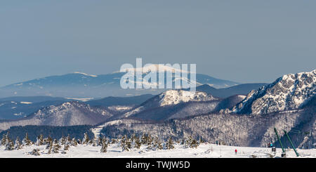 view to Babia hora hill from Martinske hole in Mala Fatra mountains in Slovakia during beautiful winter day with clear sky - Stock Photo