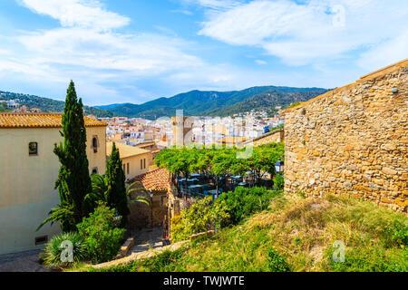 Beautiful architecture of old town in Tossa de Mar castle, Costa Brava, Spain - Stock Photo