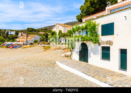 White houses in Cadaques port, Costa Brava, Spain - Stock Photo
