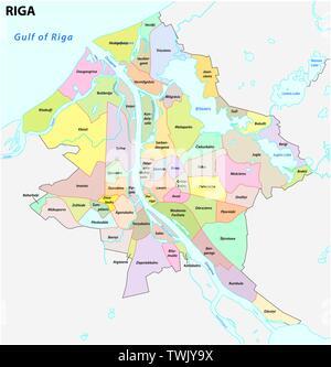 administrative and district map of latvia capital riga - Stock Photo