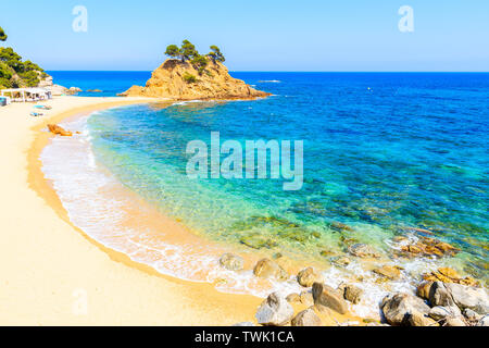 Stunning sandy beach at Cap Roig, Costa Brava, Spain - Stock Photo