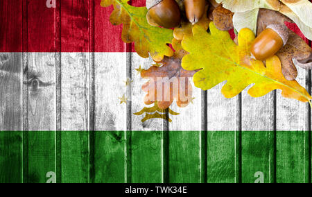 Tajikistan flag on autumn wooden background with leaves and good place for your text. - Stock Photo
