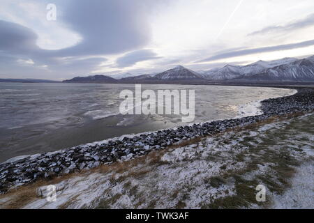 Frozen and cold landscapes in Iceland - Stock Photo