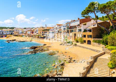 Steps to beach in port Bo of Calella de Palafrugell, Costa Brava, Catalonia, Spain - Stock Photo