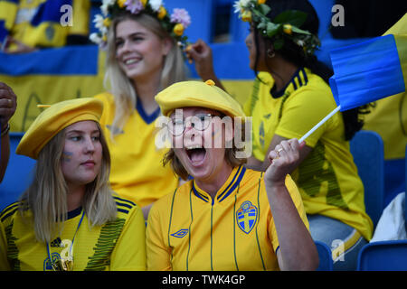 Le Havre, Frankreich. 20th June, 2019. Sweden fans, 20.06.2019, Le Havre (France), Football, FIFA Women's World Cup 2019, Sweden - USA, FIFA REGULATIONS PROHIBIT ANY USE OF PHOTOGRAPH AS IMAGE SEQUENCES AND/OR QUASI VIDEO. | usage worldwide Credit: dpa/Alamy Live News - Stock Photo