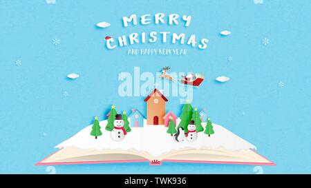 Merry Christmas and Happy new year greeting card in paper cut style. Vector illustration Christmas celebration background. - Stock Photo