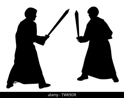 Two kids sword fighting duel in medieval style costumes - Stock Photo