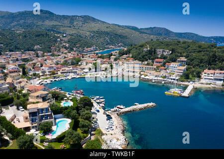 Aerial view of Kassiopi harbour Corfu Greece - Stock Photo