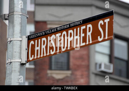 New York, USA. 19th June, 2019. A street sign refers to Christopher Street in the scene district of Greenwich Village. On a warm night on June 28, exactly 50 years ago, about 200 people, including many homosexuals, celebrate in the popular bar 'Stonewall Inn' in Christopher Street in Greenwich Village when eight policemen suddenly arrive. (to dpa 'Metropolis in rainbow colors: New York celebrates 50 years of 'Stonewall') Credit: Christina Horsten/dpa/Alamy Live News - Stock Photo