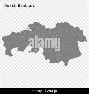High Quality map of North Brabant is a province of Netherlands, with borders of the Municipalities - Stock Photo
