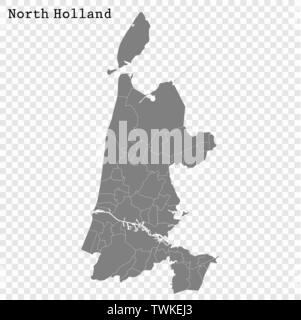 High Quality map of North Holland is a province of Netherlands, with borders of the Municipalities - Stock Photo