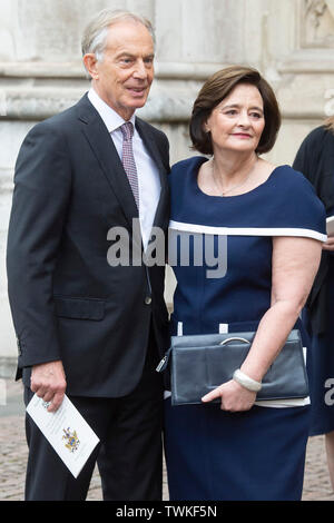 London, Britain. 20th June, 2019. Former British Prime Minister Tony Blair and his wife Cherie Blair are seen after attending a service of thanksgiving for the life and work of former Cabinet Secretary Jeremy Heywood, at Westminster Abbey in London, Britain, June 20, 2019. Credit: Ray Tang/Xinhua/Alamy Live News - Stock Photo