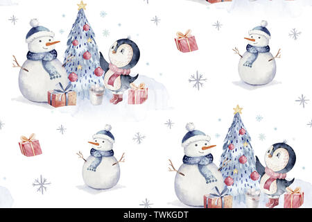 Watercolor merry christmas character penguin illustration. Winter cartoon isolated cute funny animal design card. Snow holiday xmas penguins. - Stock Photo