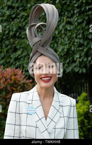 Ascot, Berkshire, UK. 21st June, 2019. Valarie stark wears a large hat to day four at Royal Ascot, Ascot Racecourse.  Credit: Maureen McLean/Alamy Live News - Stock Photo