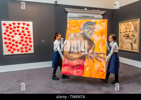 London, UK. 21st June, 2019. Preview of the Contemporary Sales at Sotheby's London. The auctions will take place on 26th June. Credit: Guy Bell/Alamy Live News - Stock Photo