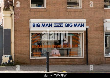 Big Man Menswear - men's large size clothing shop, Barnsley, South Yorkshire, England, UK - Stock Photo