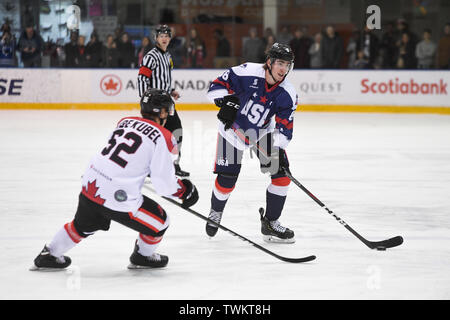 Melbourne, Australia. 21st June 2019, O'Brien Group Arena, Melbourne, Victoria, Australia; 2019 Ice Hockey Classic, Canada versus USA; David Drake of USA prepares to pass the puck Credit: Action Plus Sports Images/Alamy Live News - Stock Photo