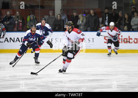Melbourne, Australia. 21st June 2019, O'Brien Group Arena, Melbourne, Victoria, Australia; 2019 Ice Hockey Classic, Canada versus USA; James Bettauer of Canada moves the puck forward Credit: Action Plus Sports Images/Alamy Live News - Stock Photo