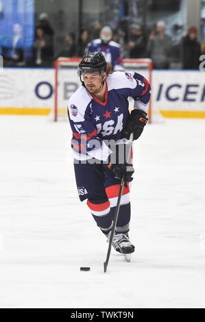 Melbourne, Australia. 21st June 2019, O'Brien Group Arena, Melbourne, Victoria, Australia; 2019 Ice Hockey Classic, Canada versus USA; Mitch Callahan of USA moves the puck forward Credit: Action Plus Sports Images/Alamy Live News - Stock Photo