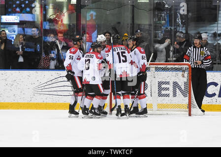 Melbourne, Australia. 21st June 2019, O'Brien Group Arena, Melbourne, Victoria, Australia; 2019 Ice Hockey Classic, Canada versus USA; Canada players celebrate a goal Credit: Action Plus Sports Images/Alamy Live News - Stock Photo
