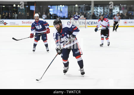 Melbourne, Australia. 21st June 2019, O'Brien Group Arena, Melbourne, Victoria, Australia; 2019 Ice Hockey Classic, Canada versus USA; Josh Harris of USA moves the puck forward Credit: Action Plus Sports Images/Alamy Live News - Stock Photo