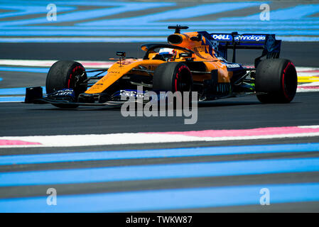 Marseille, France. 21st June 2019, Circuit Automobile Paul Ricard, Le Castellet, Marseille, France ; FIA Formula 1 Grand Prix of France, practise sessions; Carlos Sainz of the Mclaren Team in action during free practice 1 Credit: Action Plus Sports Images/Alamy Live News - Stock Photo
