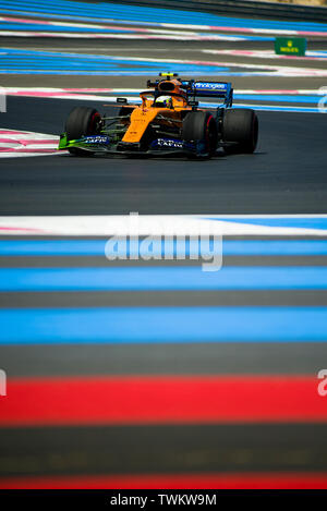 Marseille, France. 21st June 2019, Circuit Automobile Paul Ricard, Le Castellet, Marseille, France ; FIA Formula 1 Grand Prix of France, practise sessions; Lando Norris of the Mclaren Team in action during free practice 1 Credit: Action Plus Sports Images/Alamy Live News - Stock Photo