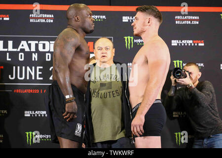 London, UK. 21st June 2019.   at Bellator London: Mousasi vs. Lovato Jr.: CEREMONIAL WEIGH-INS at Clayton Hotel Chiswick. June 21, 2019 Credit Dan-Cooke/Alamy Live News - Stock Photo