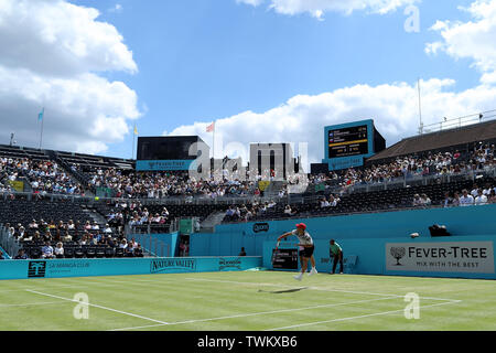Queen Club, London, UK. 21st June, 2019. The ATP Fever-Tree Tennis Tournament; Diego Schwartzman (ARG) serves to Daniil Medvedev (RUS) Credit: Action Plus Sports/Alamy Live News - Stock Photo