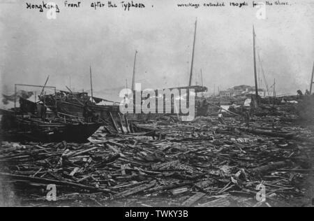 Aftermath of the 1906 Hong Kong typhoon, 18 September 1906. Up to 10,000 people lost their lives with exception damage caused across the harbour and shorelines in the British Crown Colony. Photo by Tony Henshaw - Stock Photo