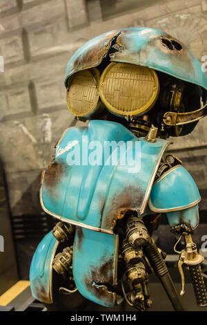 Suzhou,China-19 AUG 2017: cute vespa Transformers metal toy display closeup - Stock Photo