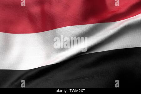 3D Illustration of Yemen Flag - Stock Photo