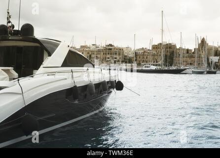 Luxury Yacht Moored At Manoel Island, Malta - Stock Photo