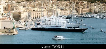 Luxury super yachts moored at Manoel Island, Malta - Stock Photo
