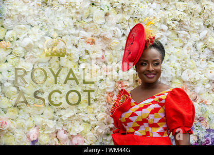 Ascot, Berkshire, UK. 21st June, 2019. Matilda A. Alomatu Osei-Agyeman from the Ghana High Commission in London poses for a photo on day four at Royal Ascot, Ascot Racecourse. Credit: Maureen McLean/Alamy Live News - Stock Photo