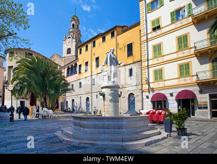 Well in honour of Siro Andrea Carli, behind the San Siro cathedral, historical center La Pigna, old town of San Remo, Liguria, Italy - Stock Photo