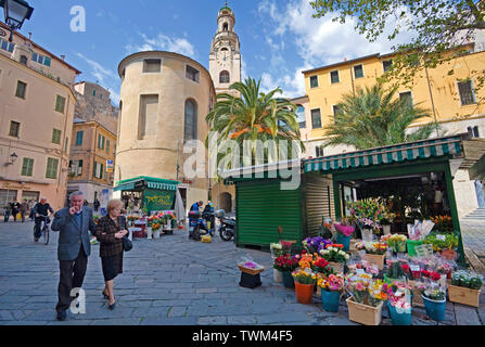 Flower shops at the historical center La Pigna, behind the San Siro cathedral, San Remo, Riviera di PonenteItaly, Liguria, Italy - Stock Photo