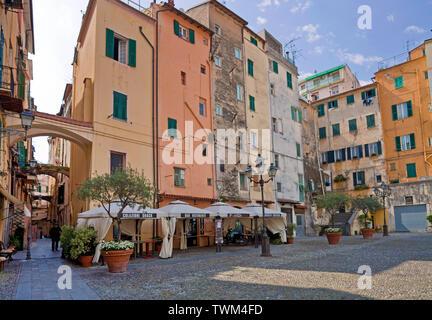 Piazza San Siro at the historical center La Pigna, old town of San Remo, Riviera di PonenteItaly, Liguria, Italy - Stock Photo