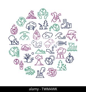 Vector circular illustration with set of icons isolated on a white background on the theme of planet pollution. - Stock Photo