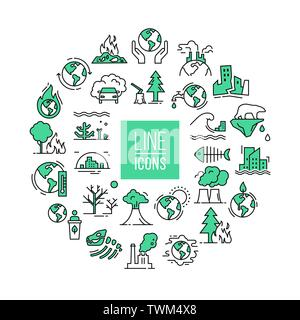 Vector circular illustration with set of icons isolated on a white background on the theme of planet pollution. Place for text. - Stock Photo