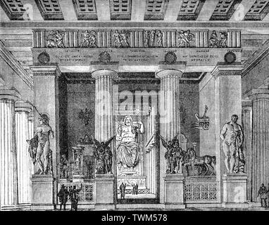 An illustration of the temple of Zeus as it might have looked in the 5th Century BCE Olympia, a small town in Elis on the Peloponnese peninsula in Greece, famous for the nearby archaeological site of the same name, which was a major Panhellenic religious sanctuary of ancient Greece, where the ancient Olympic Games were held. The site was primarily dedicated to Zeus and drew visitors from all over the Greek world as one of a group of such 'Panhellenic' centres which helped to build the identity of the ancient Greeks as a nation. - Stock Photo